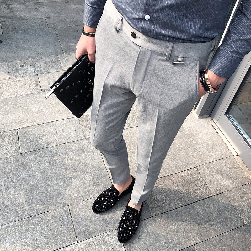 Business Casual Men Pant Slim Fit Men Dress Pants Office Men's Social Trousers Formal Work Pantalon Costume black grey