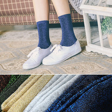Korea New Arrival Women Glitter Socks Summer Sliver Slik Shiny Socks Winter Bright Retro Simple Female In Tube Socks for Teens