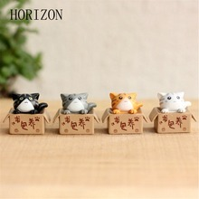 1 Pcs Cute Cartoon Lazy Cats For Micro Landscape Kitten Microlandschaft Pot Culture Tools Garden Decorations(China)