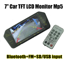 "Full HD 7"" Car TFT LCD Monitor Rear View Mirror with Built-in Bluetooth Mp5 FM Photo Display USB   Support SD/USB FM Radio"