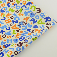 News 100% Cotton Fabric Twill Blue Letters Designs Home Textile Scrapbooking Decoration Quilting Patchwork Tela Tissue Bedding