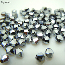 Isywaka Sale New Silver Color 200PCS 4mm Bicone Austria Crystal Bead charm Glass Beads Loose Spacer Bead for DIY Jewelry Making