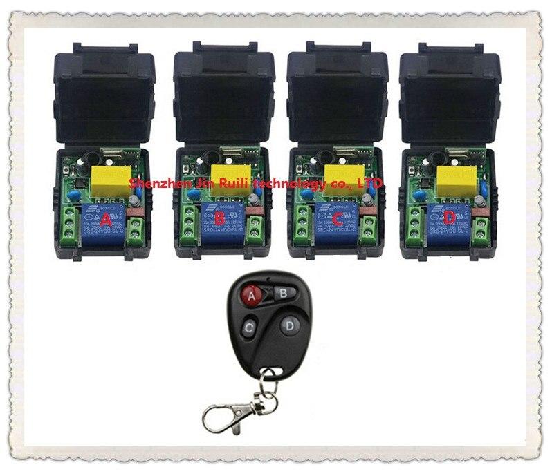 New AC220V 1CH Radio Controller RF Wireless Relay Remote Control Switch 315 MHZ 433 MHZ 1PCS Transmitter+4 Receiver --JRL220V-89<br><br>Aliexpress