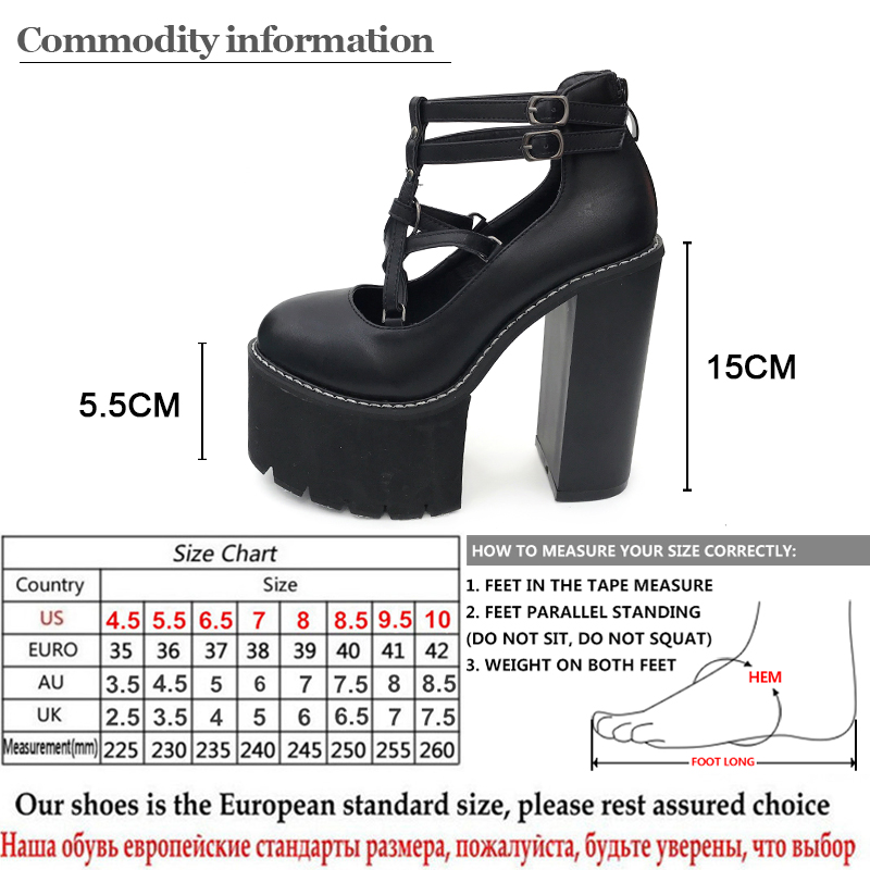 Gdgydh 2021 Fashion Women Pumps High Heels Zipper Rubber Sole Black Platform Shoes Spring Autumn Leather Shoes Female Promotion