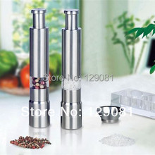 Free Shipping 1PCS Stainless Steel Pepper & Salt Herb Mill Grinder Gourmet Cooking Set Kitchen(China)