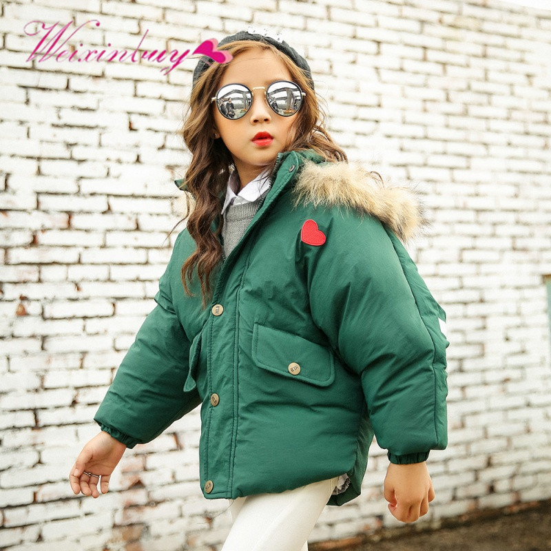 Fashion Winter Children Warm Cotton Windy Coat Suit Boys Girl Kids Hooded Fur Collar Zipper Thick Outerwear Baby Down jacket<br>