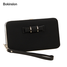 Bokinslon Girls Brand Purse Popular Practical Ladies Hand Wallet PU Leather Bowknot Woman Long Section Wallet(China)