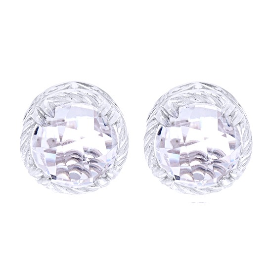 2.8 Ct Round Cut Crystal Quartz & Diamond Sterling Silver Stud Earrings