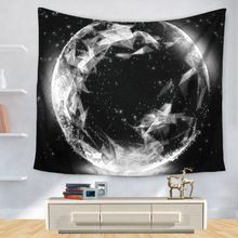 WARM TOUR Hippie Wall Hanging Tapestries Boho Bedspread Beach Towel Table Cloth Yoga Mat Blanket Black White Moon Planet Earth(China)