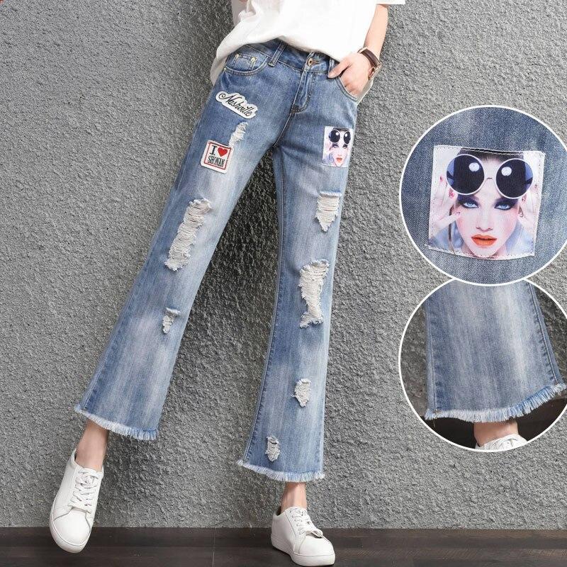 2017 spring Nine pants bell bottom pants women ripped jeans for women femmeОдежда и ак�е��уары<br><br><br>Aliexpress