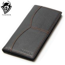 Busniess Man Style Vintage Large Capacity Long Wallet Purse 100% Genuine Leather Black Color Men's Wallets Men Retro Wallets(China)
