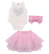 Hi Hi Baby Store  Baby Clothing Set Girl Kids Tutu  Dress Skirt+Headband+Sleeveless Romper 3pcs Outfit