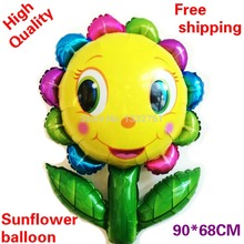 New arrival sunflower balloons large size helium ballons sun flower shape globos for children birthday party decoration wedding