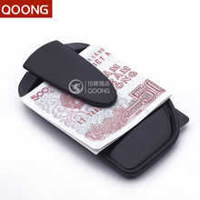 QOONG 2016 PVC Double Sided Slim Pocket Plastic Men Money Clip Wallet Credit Card Money Holder Women Bill Clip Clamp QZ42-014(China)