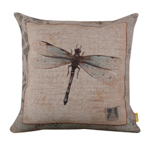 LINKWELL Free Shipping 45x45cm Vintage Dragonfly Good look American Country Garden Euro Style Linen Cushion Covers Pillow Cases