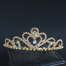 Bride Rhinestone Tiara Heart Bridal King Crown Queen Gold Color Hair Comb Wedding Pageant Crowns Diadem Water Drop Jewelry 2017(China)