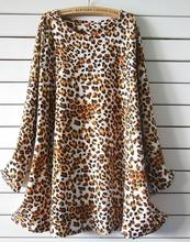 Hot sales plus-size Casual Girl Dresses Leopard fashion big swing dress Round neck long-sleeved winter dress new listing(China)