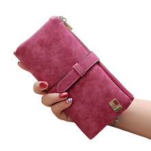 2017 Solid Drawstring Nubuck Leather Zipper Long Women Wallet Phone Bag Luxury Brand Wallets Designer Purse Card Holder Clutch(China)