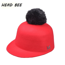 [HEAD BEE] 2017 Brand Fedoras Hat Adult Wool Winter Cap Felt Warm Bowler Hats Fur Balls Lady for Women(China)