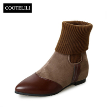 COOTELILI Botas Women Ankle Boots Flat Heels Casual Shoes Woman Faux Suede Leather Chelsea Boots Pointed Toe Slip on Mujer 35-39(China)