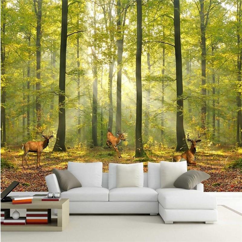 Custom 3d wallpaper luxury quality HD natural morning sun forest deer run mural home decoration papel de parede adesivo<br><br>Aliexpress