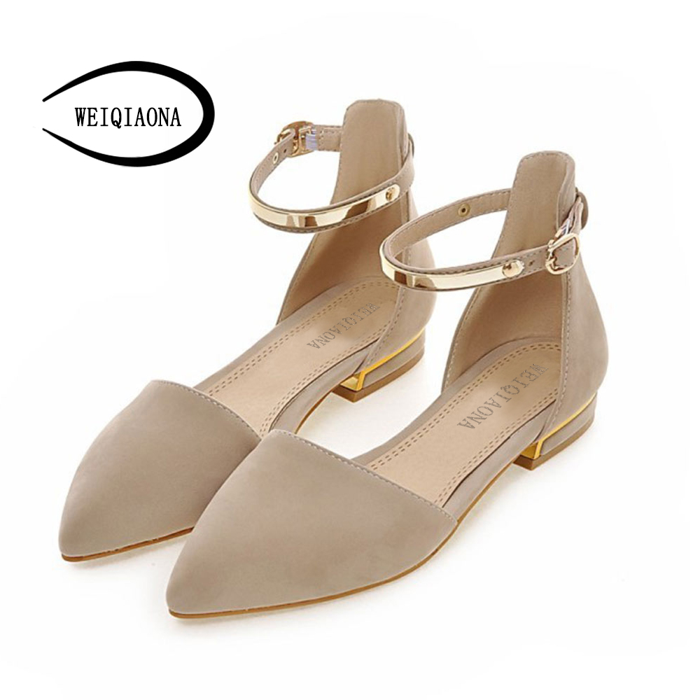 WEIQIAONA Plus Size 34-43 Fashion Womens sandals hollow strap sandals Pointed Toe Ballerina women flat Shoes with bows in flats<br>