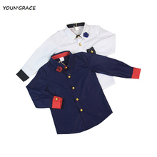 2015 New Flower Boys Wedding Dress Shirts with Flower Brand Gentleboys Cotton Long Sleeve Shirts Boys Wedding Party Shirts,YC045(China)