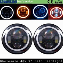 "7inch LED Halo Headlights Kit 7"" LED Headlight  H4 Hi/low Auto Headlight With Angle Eye For Jeep Wrangler JK TJ Hummer Defender"