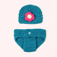Orchid Piece Explosion Infant Models Hand Knitting Wool Crochet Clothes One Hundred Days Newborn Photography Props  5SY86