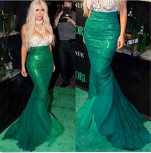 MilanKerr Halloween Cosplay Mermaid Princess Sequins Maxi Tail long green Skirt Costume Women Mermaid Ariel Party Wear For Adult