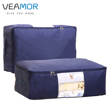 VEAMOR Oxford Luggage Storage Bags Folding Organizer Bag for Clothes Quilt Blanket Pillow Breathable with 2 Handles and Window