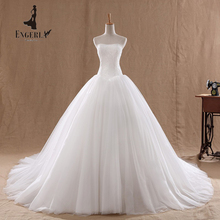 Lamya  Lace Court Train Wedding Dress Vintage Strapless Tulle Bridal Ball Gown Lace Bottom Cheap Chinese Bride Dress