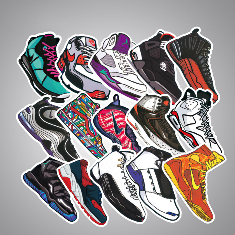 100 pcs Mixed Brand Shoes Stickers for Car Styling Bike Motorcycle Phone Laptop Travel Luggage Cool Fashion Sticker Custom-Made
