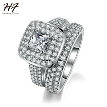 HF Top Quality Luxury Fashion Engagement Ring 2 Pieces Sliver Color CZ Crystal Ring Sets For Women Wholesale 709