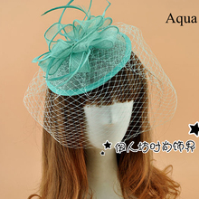 Aqua Bridal Hats For Brides Feather Cheap Fascinator Hats Wedding Hat Veils Hair Acessories Wedding Bridal Birdcage Veil 2015