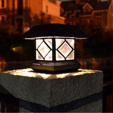 Outdoor house shape Solar LED Pillar Lamp Waterproof garden fence courtyard light energy saving Solar Post lamp LED Luminaires(China)