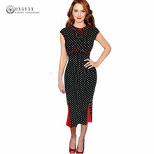 Women's Summer Clothing Elegant Vintage Polka dot Dress Charming Pinup Casual Party Evening Sheath Bodycon Pencil Dress AA576