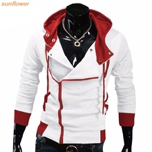 New Fashion Aliexpress Explosion Of Assassin's Creed Sweatershirt Oblique Zipper Hooded Jacket Men(China)