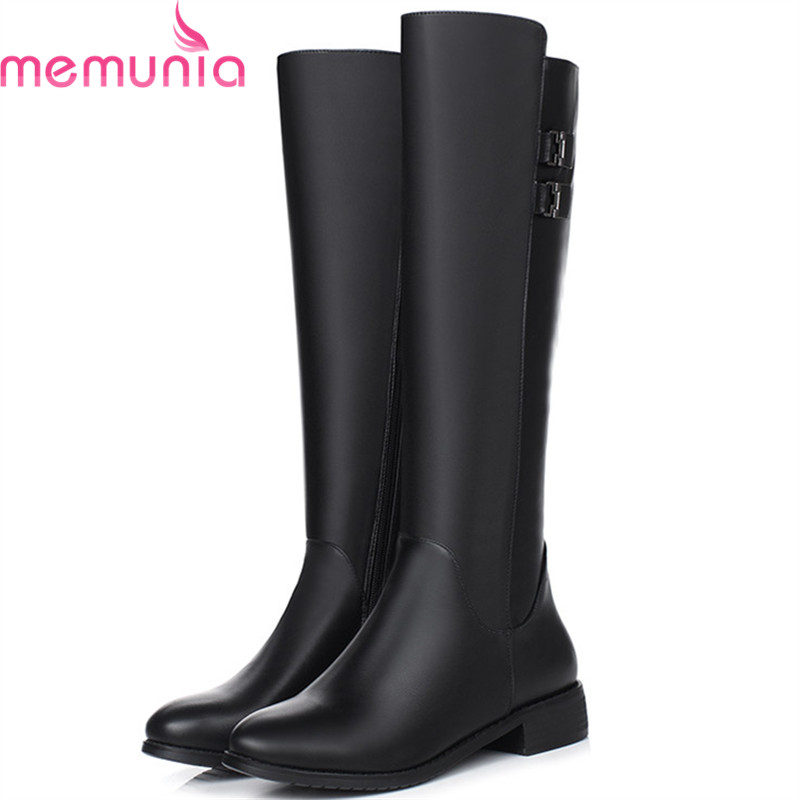 MEMUNIA PU soft leather boots female fashion shoes winter boots solid zipper buckle knee high boots for women big size 34-40<br>