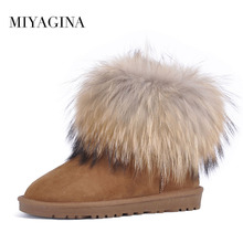 Free shipping! High quality!Natural Wool Snow Boots Genuine Leather Women Boots Real Fox Fur winter warm ankle boots 5 colors(China)