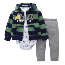 2018 Baby Boy Clothes Car Print Tracksuit Hooded Coat + Long Sleeve Romper + Pants Spring Autumn Clothing Set Baby Girl Costume(China)