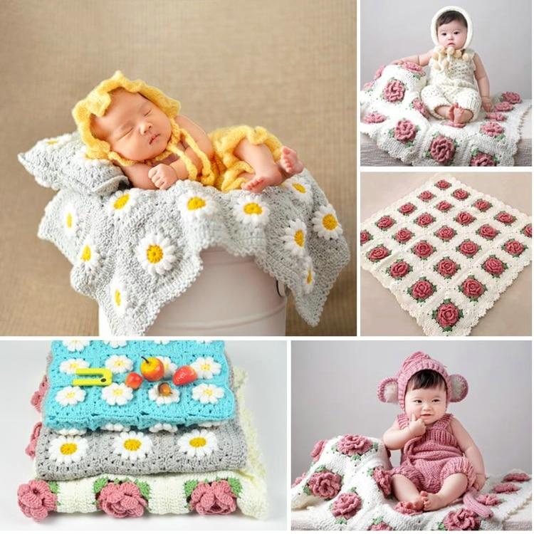 75*75cm Crochet Knitted Kids Blanket handmade Baby blanket newborn cartoon flower baby sofa throw blanket<br>