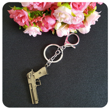MOOSA Hot Weapons Theme Keychain Keyring Bronze Color Handgun Key Chains Rings Holder for Car Accessory Birthday Surprising Gift