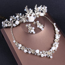 Bling Pearls Diamond Tiaras Women Hair Jewelry Set With Earrings Necklace  Crowns Hair Flowers Bridal Party Headbands Headpieces db3ccf3b78d4