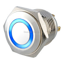 2 pieces BRASS 16mm short body 12V BLUE LED momentary NO ring illuminated push button switch