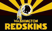 Washington Redskins Logo wordmark with Sunrise Flag NFL 3X5FT Banner 100D Polyester grommets custom, free shipping(China)