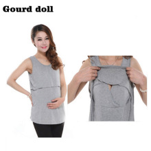 Gourd doll Modal maternity Underwaist breastfeeding undershirt dress for pregnant summer women maternity nursing pregnant clothe(China)