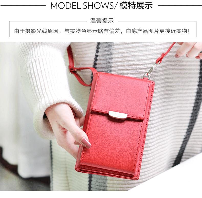 19 New Women Casual Wallet Brand Cell Phone Wallet Big Card Holders Wallet Handbag Purse Clutch Messenger Shoulder Straps Bag 17