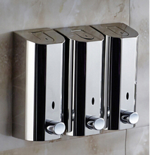 New Wall mounted bathroom Stainless Steel Hotel Hand Liquid Soap Dispensers/kitchen soap dispenser/wall mounted Shampoo bottles(China)
