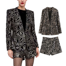 Women Winter Style Geometric Shorts Sets 숙 녀 Diamond 스팽글 Blazer 블루종 Womens 벨벳 한 벌 Sets Female 칙 블레이져(China)